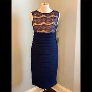 NWT Banded and Lace Sheath Dress